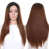 Top Quality 4 Cor tipo Longo Rendas De Seda Preta Raízes Pretas Ombre peruca loira marrom cinza verde Perucas Sintéticas Fibra Resistente Ao Calor