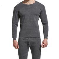 겨울 남성 긴 존스 Thicken Mens 열 속옷 세트 플러스 Fluff 따뜻한 긴 John O-Neck Thermal Undershirts Trousers