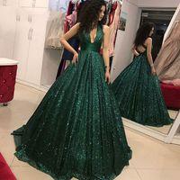 2019 Sparkly Bling Verde Scuro Paillettes Prom Dresses Elegante Profondo Scollo AV Ruffle Paillettes Party Prom Dress abiti da formatura longo