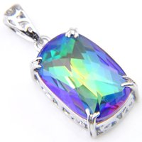 For Women Rectangle Rainbow Natural Mystic Topaz Pendants Luckyshine 925 Sterling Silver Necklace Weddings Gift Pendants 1' inch