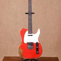 Venta al por mayor reliquias de guitarra eléctrica hecha a mano. 6 GUITEAR Hecho a mano, Guitarra Roja Color TL, envío gratis