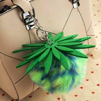 Kabarık Taklit Kürk Topu Ponpon Anahtarlık Kadın Çantası Charms Ananas Gümüş Anahtarlık Biblo Araba Anahtarlık Zincirleri Kadın Hediye