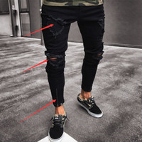 Thefound Mode Hommes Déchirés Jeans Jeans Détruit Jeans effiloché Slim Fit Jean Pantalon Jean Zipper