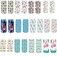 2018 New 3D Printing Flamingos Pattern Women Short Socks Dur...