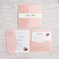 Pink laser cut wed invitation square tir- folding pocket wedd...