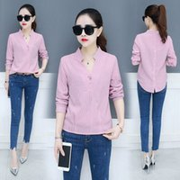 2018 spring new women' s shirt fashion V- neck thin care ...