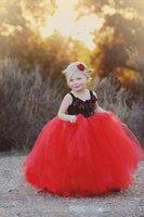 Applique Carino nero e rosso sfera di Tulle delle ragazze di fiore abiti con spalline primo cummunion Pageant principessa abiti