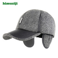 Winter hat For Mens Tab Solid Claus Hat Wool PU Stitching Le...