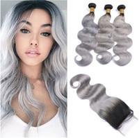 1b серый Ombre перуанский пучок человеческих волос сделок с закрытием темно укоренившиеся Ombre серебристо-серый 4x4 кружева верхней закрытия с девственной волос ткет