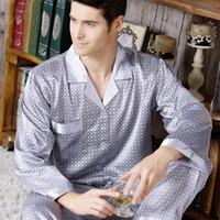 Новая весна осень мужские Шелковый сатин Пижама с длинным рукавом Элегантная сна рубашку и брюки мужчин Pijama Set Home Одежда