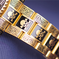 Gold Skull Watch Mens Watches Luxury AAA Black Dial With Cal...