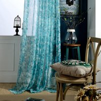 Natural Style Blue Leaf Sheer Door Curtain Tulle Translucent...