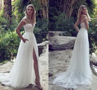 2018 Limor Rosen A-Line Lace Abiti da sposa Illusion Corpetto Jewel Court Train Vintage Garden Beach Boho Wedding Party Abiti da sposa BA5403
