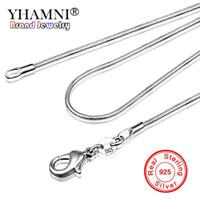 YHAMNI длинные 16-32inch (40-80cm) 100% аутентичные твердые стерлингового серебра 925 колье ожерелья 1 мм змея цепи Ожерелье для женщин YDHX01