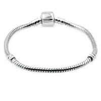 Gros plaqué argent Bracelets Bracelet 17 CM-20 CM chaîne de serpent Bijoux DIY Accessoires pour Pandora Charms Européen et Perle