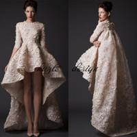 Moderne Hallo-Lo 3D Blumen Applique Brautkleider krikor Jabotian Arabisch Saudi Arabian Spitze Brautkleider Dubai Kaftan Halb Langarm
