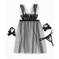 Sexy Transparente Líquido De Profundidade Do Fio V Bow Cílios Lace Camisole Sedução Sabor Pijama Jogo T-type Calças A928