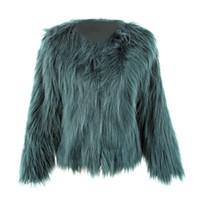 2017 imitation fourrure Pardessus court manteau de fourrure flottant Veste cheveux Faux Vestes d'hiver Parti Poilu Manteau chaud Plus Size XXXL