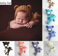 جديد وصول الطفل حك قبعة كاب + الدب لعبة 0-3 متر الوليد طفل رضيع الدب صور الدعامة التصوير الطفل محبوك قبعة بالجملة