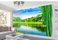 تخصيص لحجم المشهد اللوحة بحيرة ضوء أكوا خلفية الجدار ورق الحائط مصممي ديكور المنزل