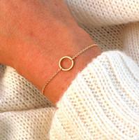 Zarte Petite Circle Of Life Charm Armband für Frauen Brautjungfer Geschenk minimalistischen Karma geometrische Runde Pulsera Edelstahl
