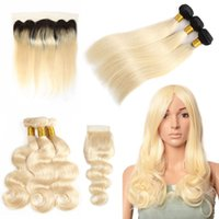 Brazilian 613 Blonde Human Hair Bundles With Frontal Straigh...