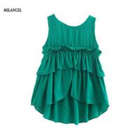 Milancel девушки платья 2017 новый летняя одежда твердые оборки платье для детей без рукавов девушки одежда