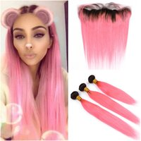 #1B Pink Dark Root Ombre Virgin Human Hair Weft Extensions w...
