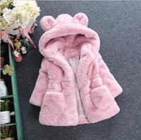 Çocuk taklit kürk ceket kış yeni bebek kız sevimli kulak kapşonlu Faux kürk ceket çocuklar polar kalınlaşmak sıcak dış giyim çocuk karikatür ceket