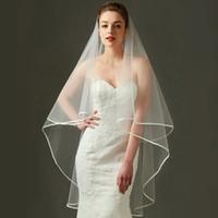 Simples 2 camadas tulle véus no casamento com pente novo chegada de acessórios nupciais â € €