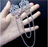 doppi fiori con spilla a catena in argento sterling 925 con spilla cubica in zirconi o fiore di rosa con spilla da donna