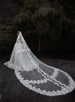 Custom Made Düğün Veils 3 M Uzunluğu 2.5 M Genişlik Dantel Aplike Brida Veils Tarak Ile Bir Katmanlar Uzun Düğün Saç Aksesuarları