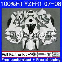 Corps d'injection pour YAMAHA YZF R 1 YZF 1000 YZFR1 07 08 227HM.17 YZF R1 07 08 Blanc brillant YZF1000 YZF-1000 YZF-R1 2007 2008 Kit de carénage