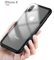 Clear tempered glass back cover + soft TPU bumper phone case...