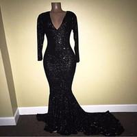 Lentejuelas negras brillantes Vestidos de noche 2018 Escote en V profundo Mangas largas Sirena Tren de barrido Árabe Africano Vestidos de baile 2K18 Fiesta formal Ropa