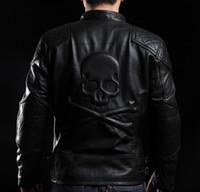 Veste de moto 100% cuir de col montant avec tête de mort