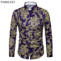 Luxury Brand Men' s Paisley Shirt Chemise Homme 2018 Spr...