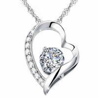 Blanc cristal autrichien Purple Diamonds Amour Coeur Pendentif Déclaration Collier Classe De Mode Femmes Filles Dames Éléments Bijoux