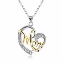 Diamant Herz Mutter Halskette Liebe Anhänger Mutter Geburtstag Tag Geschenk Modeschmuck Wille und Sandy