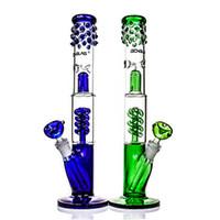 """Bongo de vidro """"Magro Azul Sarah"""" detalhes inovadores Percolator Ice tubulação de água do compartimento elegante heavry 15"""" downstem hookah"""