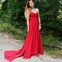 2018 Simple Red Chiffon Long A Line Evening Dresses Sweethea...