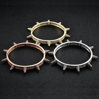 hip hop Iced Out Bling Bangle for women men Jewelry Copper C...