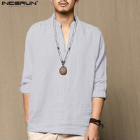 INCERUN Chinese Style Linen Shirt Men Casual Breathable Soft...