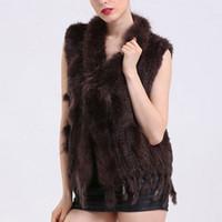 Faroonee de las nuevas mujeres de piel falsa chaleco con cuello de piel de mapache mangas invierno suave chaleco Hairy DQ2952 capa de la chaqueta