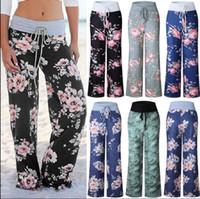Женщины цветочные Палаццо широкая нога случайные свободные брюки летние брюки йога фитнес широкие брюки женщины случайные порты брюки 19 цвет KKA3854