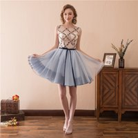Elegant Girls Dress Boat Neck Open Back Tulle Mini Short Par...