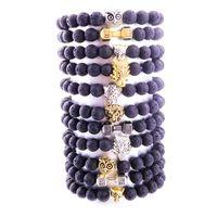 Natuurlijke zwarte lava stenen uil wolf charme armbanden aromatherapie essentiële olie parfum diffuser armband voor vrouwen mannen sieraden