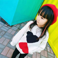 Girls Clothing Heart Style White Sweater Blouse Knitted Wool...