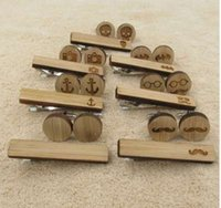 Conjuntos de clipe de gravatas de abotoaduras de madeira quente bigode de ancoragem caveira morcego abotoaduras de punho conjunto de gravata