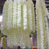 Orchidée blanche artificielle Wisteria fleur de vigne 2 mètres Couronnes longues soie pour Backdrop de mariage Décoration Tir Props 30pcs / lot